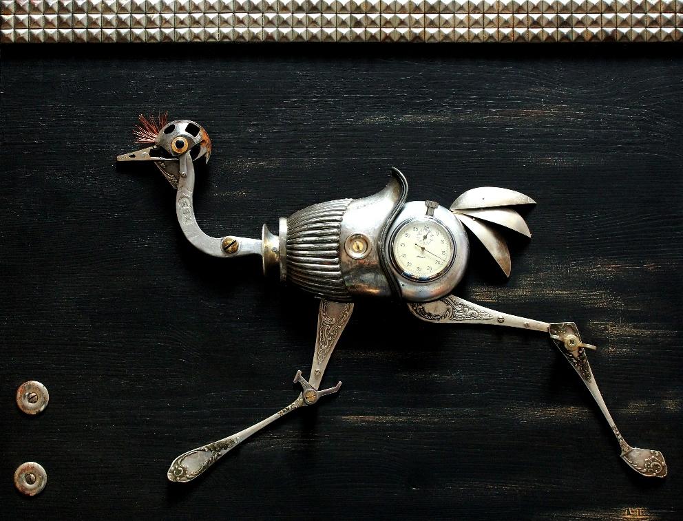 ostrich runner strutis begikas paveikslas steampunk