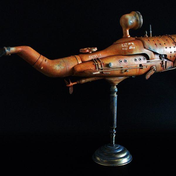 sperm whale artistartas steampunk sculpture