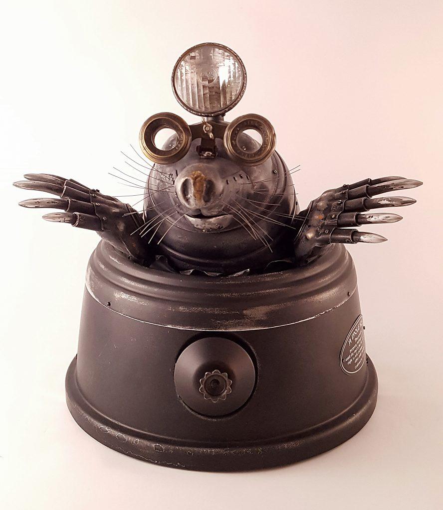 Mole steampunk metal sculpture