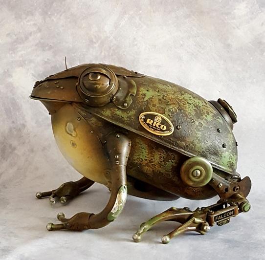 steampunk frog metal